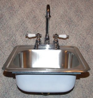 BAR SINK WITH QUALITY FAUCET  AND STRAINER  15 X 15