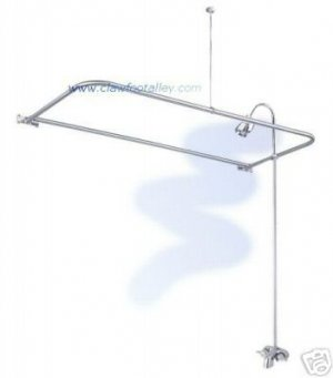SATIN NICKEL Clawfoot Tub Shower With D Curtain Rod
