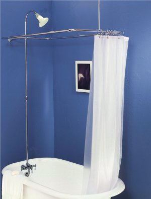 Add on Shower Clawfoot Tub Faucet with Diverter  and Riser and Vintage Shower Head