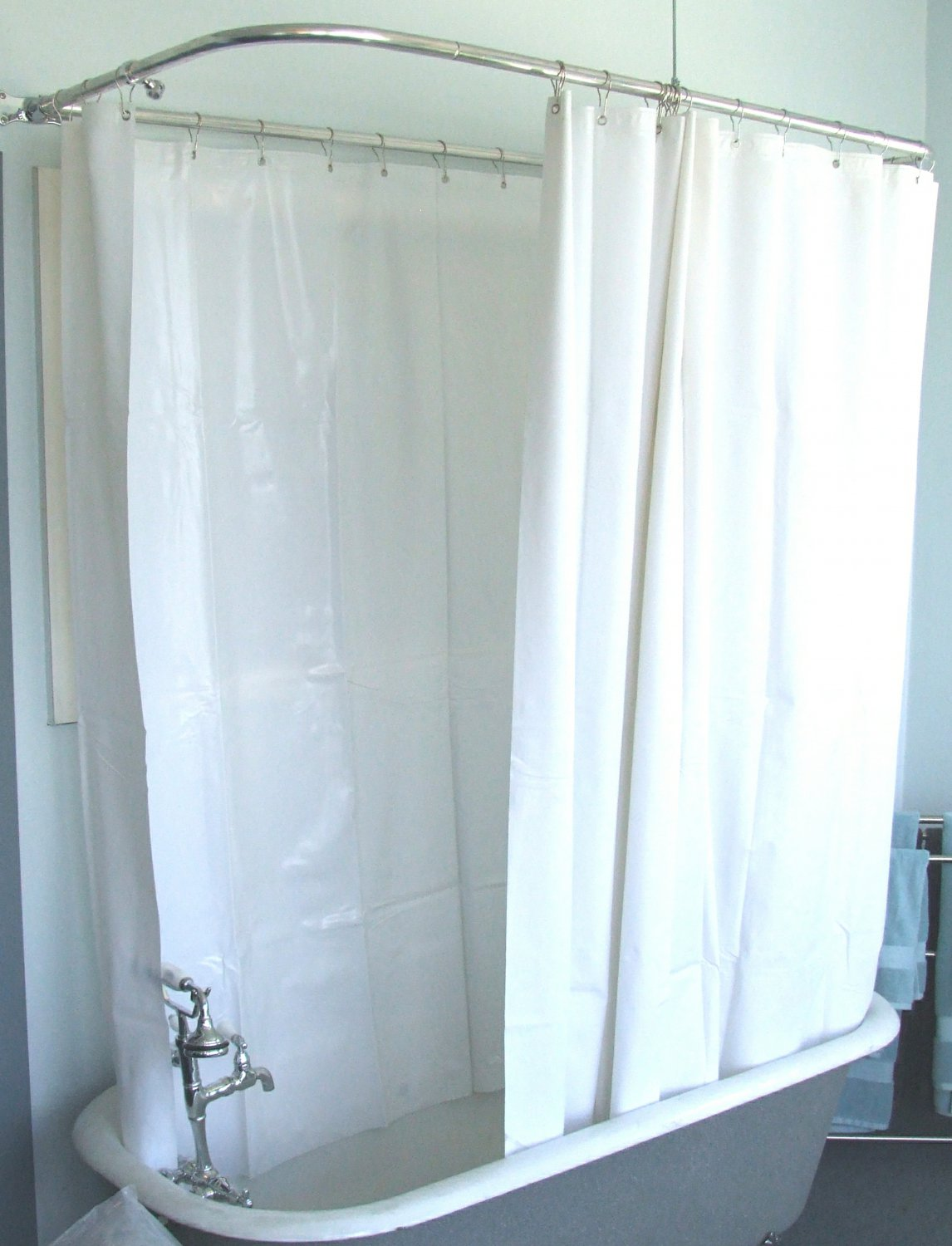 Extra Wide Shower Curtain For A Clawfoot Tub White Less