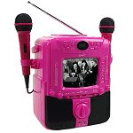 "SuperSonic Dual Mic Karaoke Machine w/5"" B/W Display (Pink)"