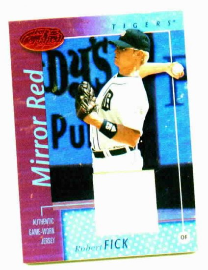 2002 Leaf Certified Mirror Red Robert Fick Jersey Card  #d 4/150 Detroit Tigers