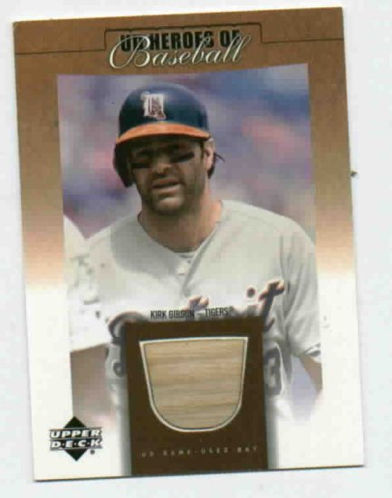 2001 Upper Deck Heros Of Baseball Kirk Gibson Bat Card Detroit Tigers