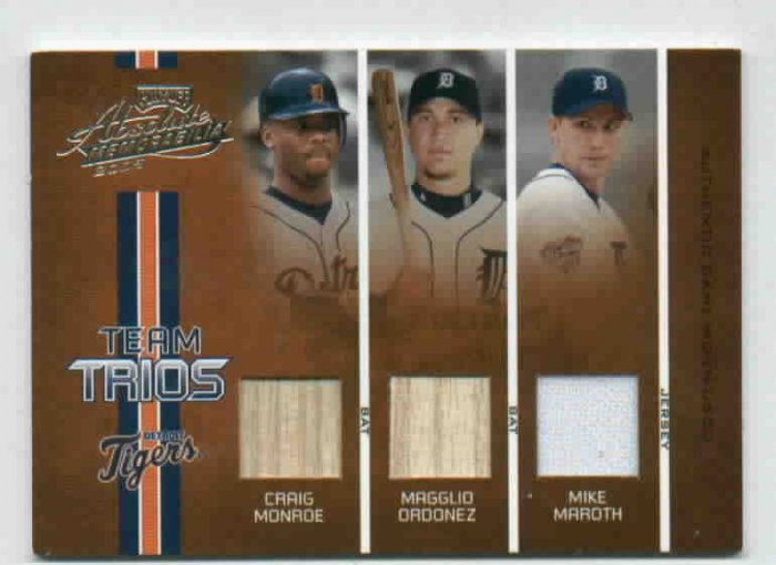 2005 Playoff Absolute Monroe Ordonez Maroth Triple Game Used  #D 106/150 Detroit Tigers