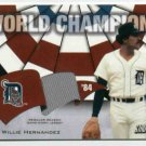 2001 Topps Stadium Club World Champions Willie Hernandez Jersey 84 Detroit Tigers