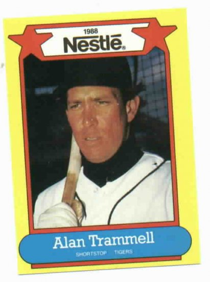 1988 Nestle Alan Trammell Oddball Detroit Tigers Baseball Card