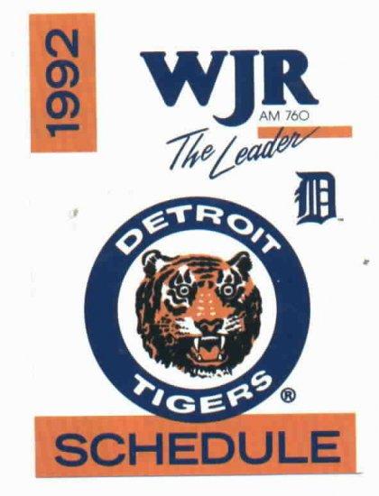 1992 Detroit Tigers WJR Pocket Schedule
