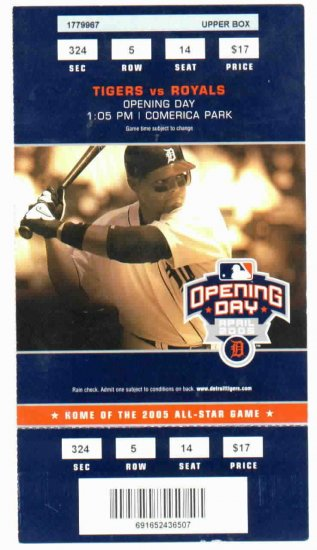 2005 Detroit Tigers Opening Day Ticket Stub Ivan Rodriguez
