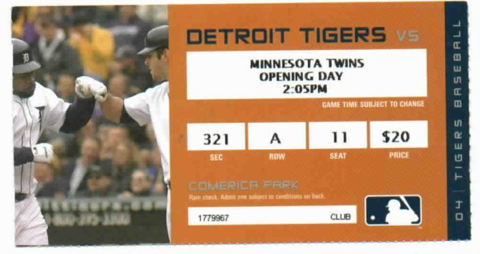 2004 Detroit Tigers Opening Day Ticket Stub