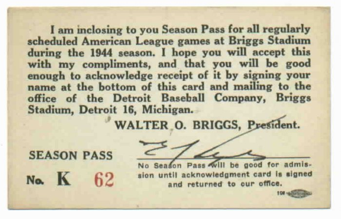 1944 Detroit Tigers Season Pass Briggs Stadium