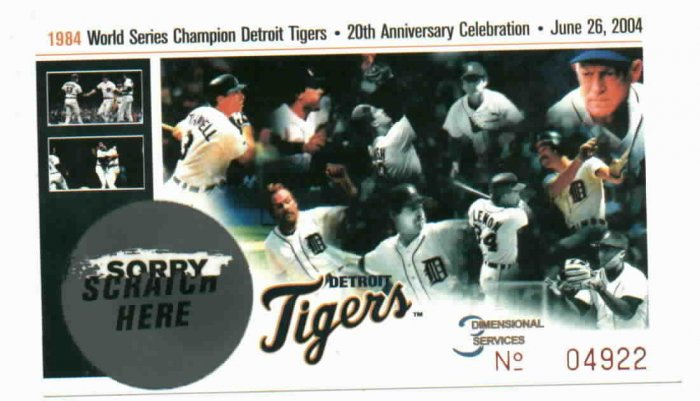 1984 DETROIT TIGERS 20th Aniv. Celebration SGA Stub. 2004