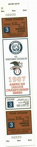 1987 Detroit Tigers ALCS Championship Ticket Complete Unused MINT