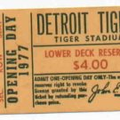 1977 Detroit Tigers Opening Day Ticket Stub