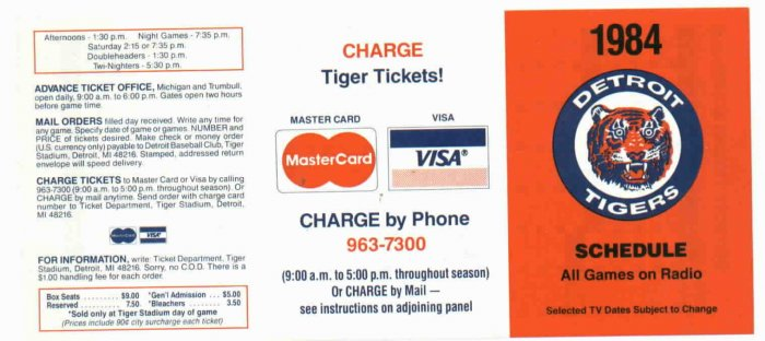 1984 Master Card / VisaDetroit Tigers Schedule UNFOLDED MINT World Series