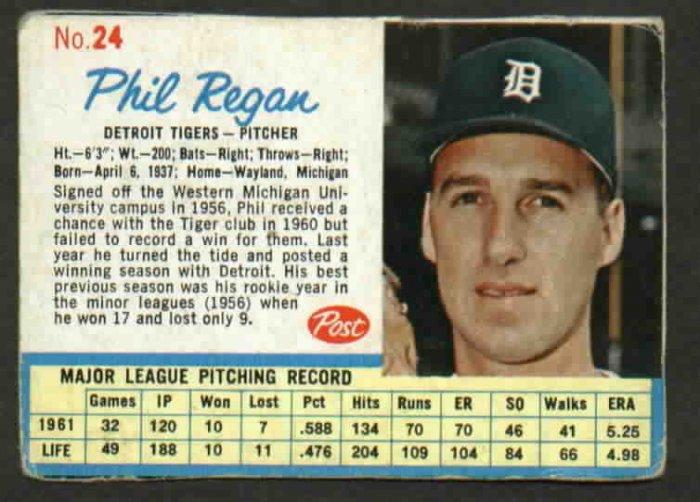 1962 Post Phil Regan Detroit Tigers Card # 24