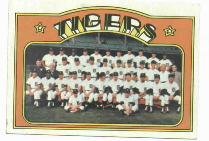 1972 Topps Detroit Tigers Team Card