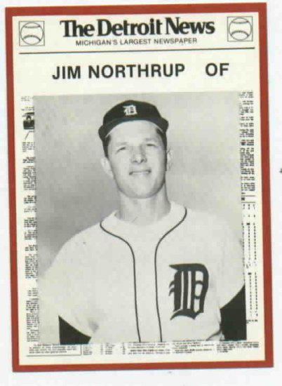 1981 Detroit News Jim Northrup Oddball Tigers 1968