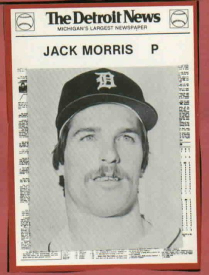 1981 Detroit News Jack Morris Oddball Tigers 1984