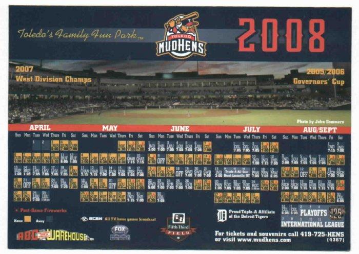 2008 Toledo Mud Hens Magnet Schedule SGA