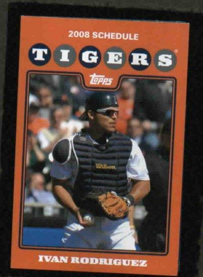 2008 Detroit Tigers Pocket Schedule Ivan Rodriguez