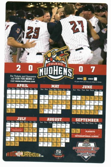 2007 Toledo Mud Hens Magnet Schedule SGA