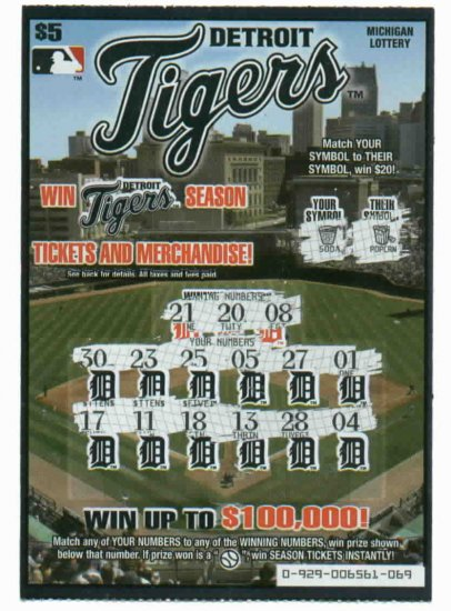 2007 Detroit Tigers Lottery Ticket ODDBALL