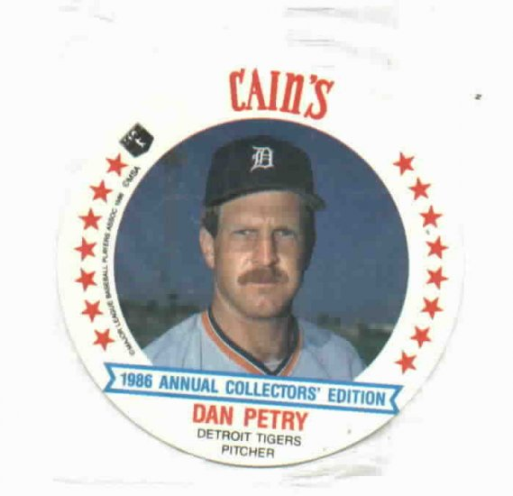 1986 Cains MSA Disc Dan Petry Detroit Tigers ODDBALL Unopened