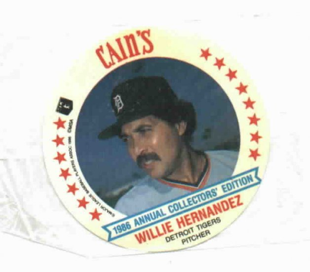 1986 Cains MSA Disc Willie Hernandez Detroit Tigers ODDBALL Unopened
