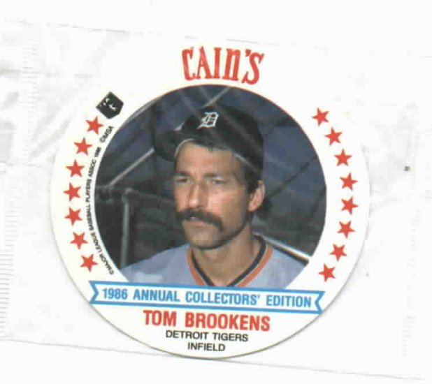 1986 Cains MSA Disc  Tom Brookens Detroit Tigers ODDBALL Unopened