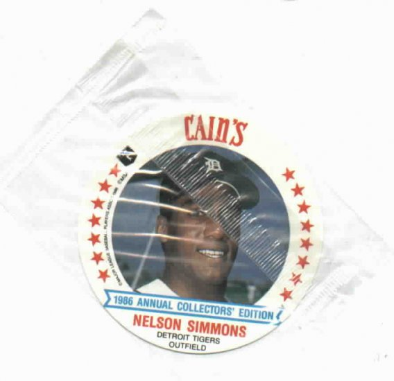 1986 Cains MSA Disc Nelson Simmons Detroit Tigers ODDBALL Unopened