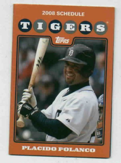 2008 Detroit Tigers Pocket Schedule Placido Polanco Budweiser