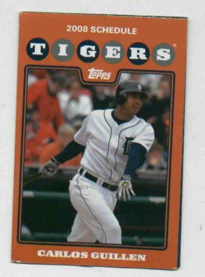 2008 Detroit Tigers Pocket Schedule Carlos Guillen