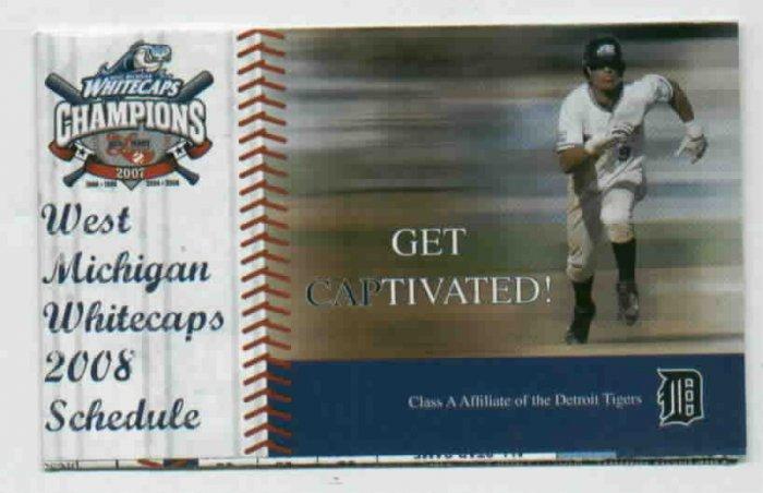 2008 Western Michigan Whitecaps Pocket Schedule Detroit Tigers