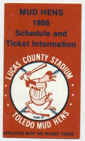 1988 Toledo Mud Hens Pocket Schedule