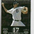 2007 Topps Moments & Milestones Justin Verlander 17 Ks #D 28/29 Detroit Tigers