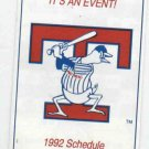 1992 Toledo Mud Hens Pocket Schedule