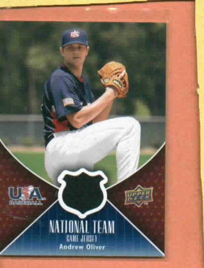 2009 Upper Deck 2 USA Andrew Andy Oliver Detroit Tigers Draft Pick Jersey Card Rookie