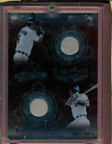 2002 Playoff Absolute Team Tandems Bobby Higginson Shane Halter Game Used Detroit Tigers