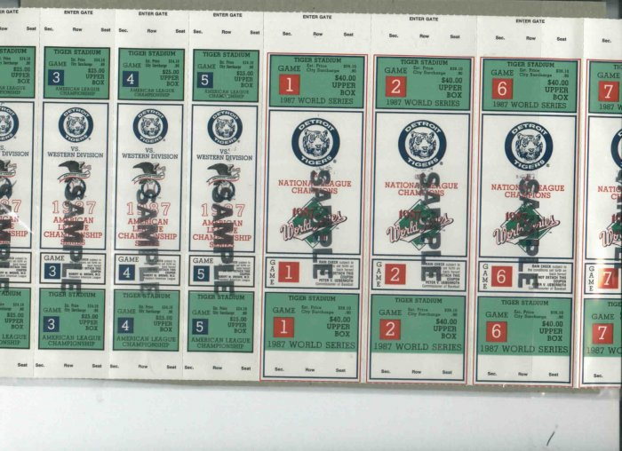 RARE 1987 Phantom World Series & Playoff Tickets Sample Detroit Tigers