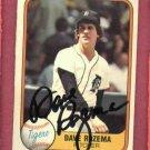 1981 Fleer Dave Rozema Autograph Detroit Tigers AUTO