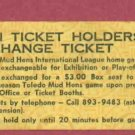1980 Toledo Mud Hens Season Ticket