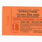 1991 Toledo Mud Hens Mudhens VS Detroit Tigers Ticket Stub Skeldon Stadium
