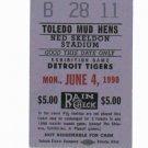 1990 Toledo Mud Hens VS Detroit Tigers Ticket Stub Mudhens