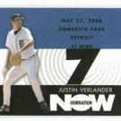 2007 Topps Generation Now Justin Verlander Detroit Tigers Baseball Card 17 Wins Win # 7