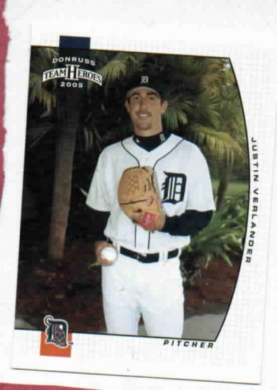 2005 Donruss Team Heroes Justin Verlander Detroit Tigers Baseball Card Rookie