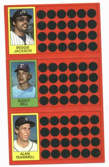 1981 Topps Scratch Off Alan Trammell Full Panel Detroit Tigers Oddball Reggie Jackson Buddy Bell