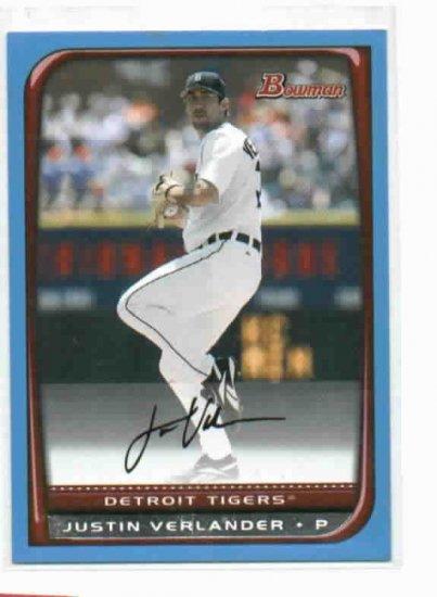 2008 Bowman Justin Verlander Detroit Tigers Baseball Card #D /500 Blue