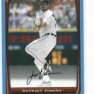 2008 Bowman Justin Verlander Detroit Tigers Baseball Card #D /500 Blue