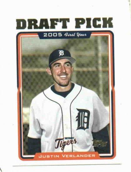2005 Topps Draft Pick Justin Verlander Detroit Tigers Rookie