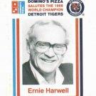 1988 Dominos Pizza Ernie Harwell Baseball Card Detroit Tigers Oddball